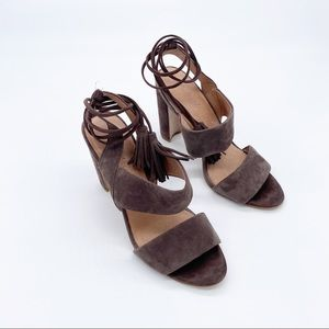 Madewell Lace Up Suede Heels Size: 8.5